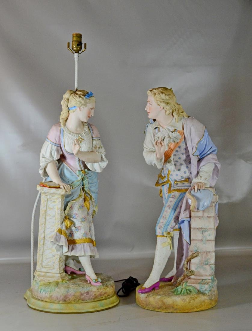 Pr French bisque figures by Baury et Vion, 28""