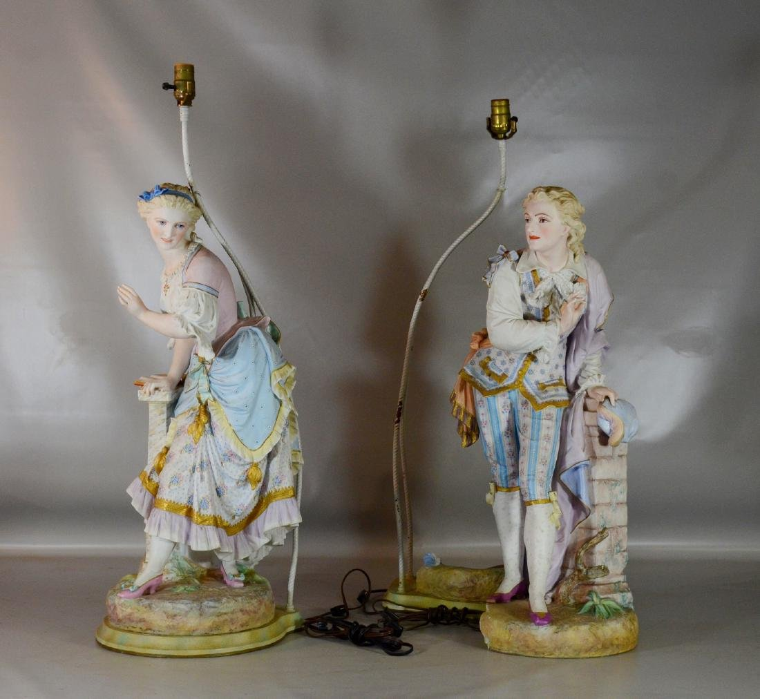 "Pr French bisque figures by Baury et Vion, 28"" - 2"