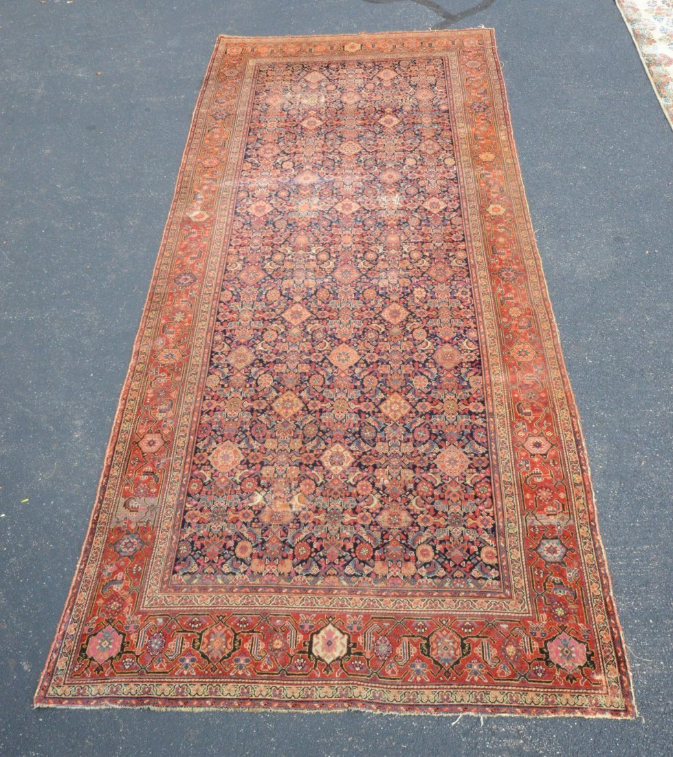 "6'8"" x 15'6"" Persian corridor carpet, wear, repairs"