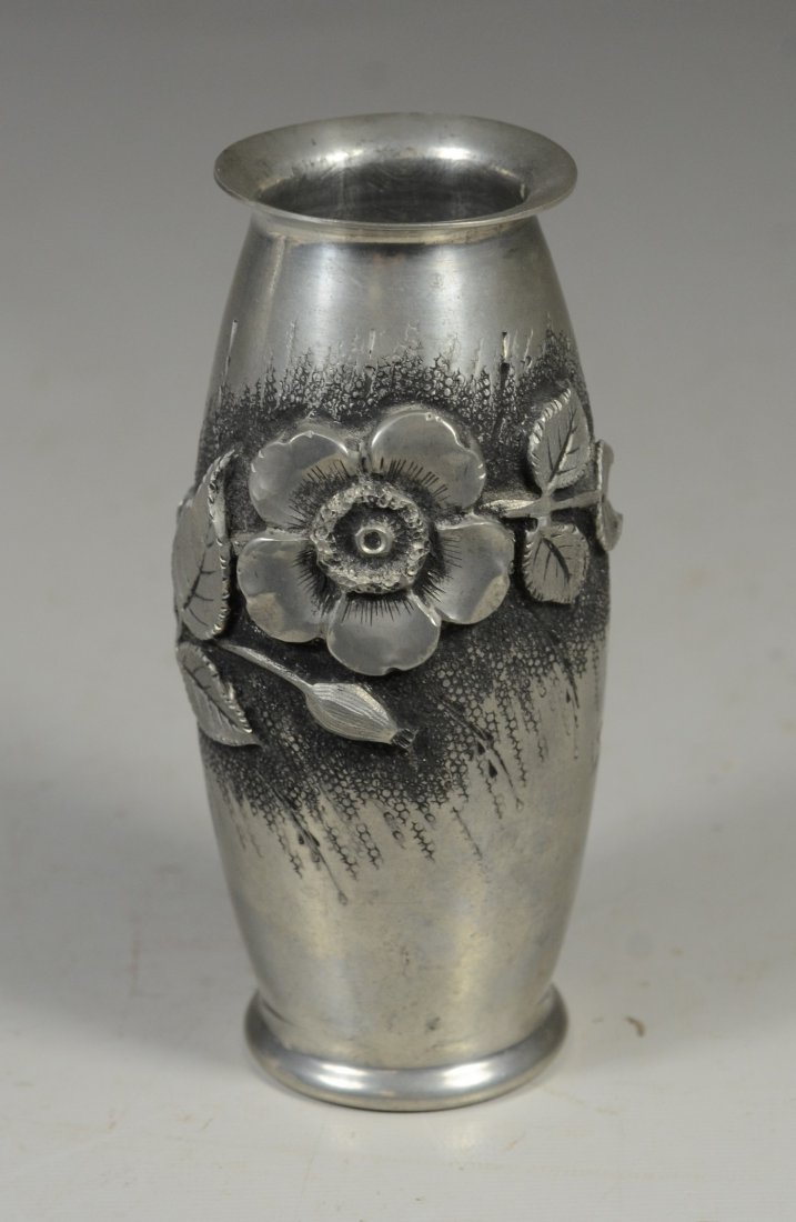 French Art Nouveau silver plated vase, signed L Rozay