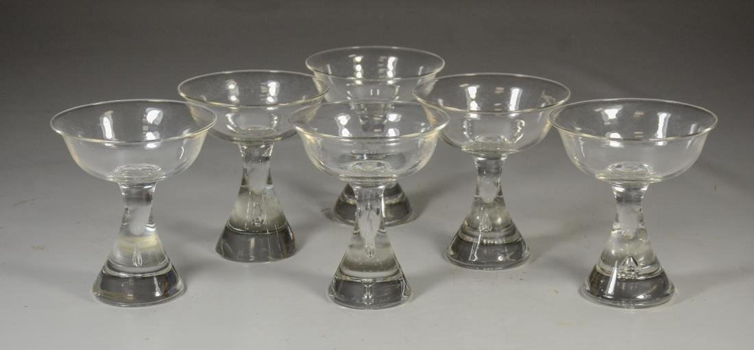 6 Unmarked Crystal Cocktail Glasses, Probably Steuben