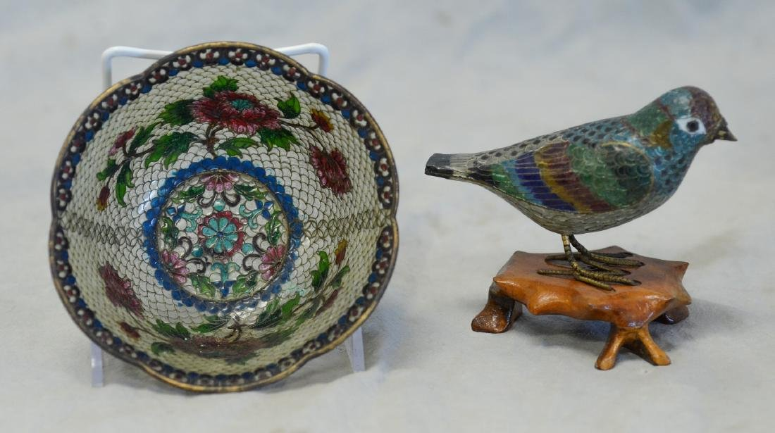 Chinese plique a jour bowl & bird figurine