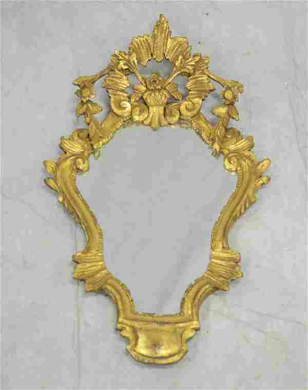 """Carved giltwood Italian wall mirror, 27"""" h"""