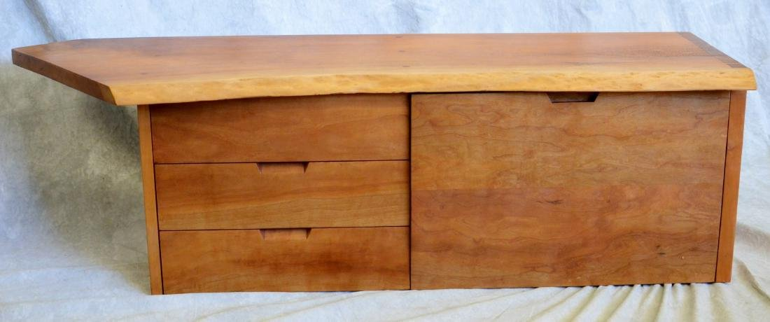 Nakashima style cherry drop front floating wall cabinet