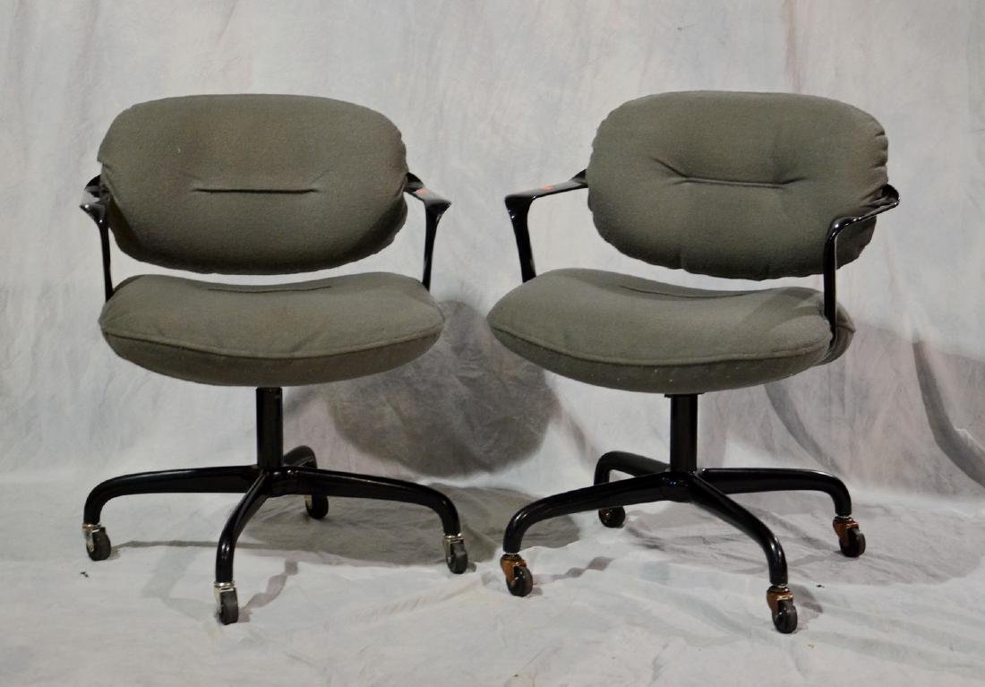 Pair Knoll International swivel office chairs