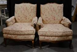 Pair Louis XV Style walnut carved bergeres