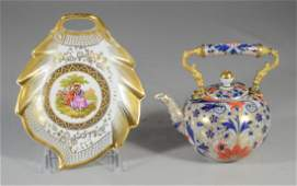 (2) pcs Continental porcelain to include a Dresden