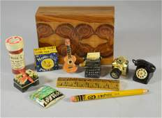11 Fantasy carved and painted wooden whistles and