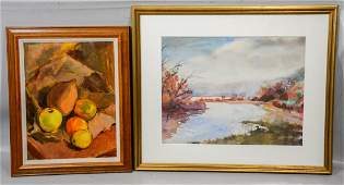 """Lot of 2 artworks, Mary Marshall """"Landscape with Lake"""","""