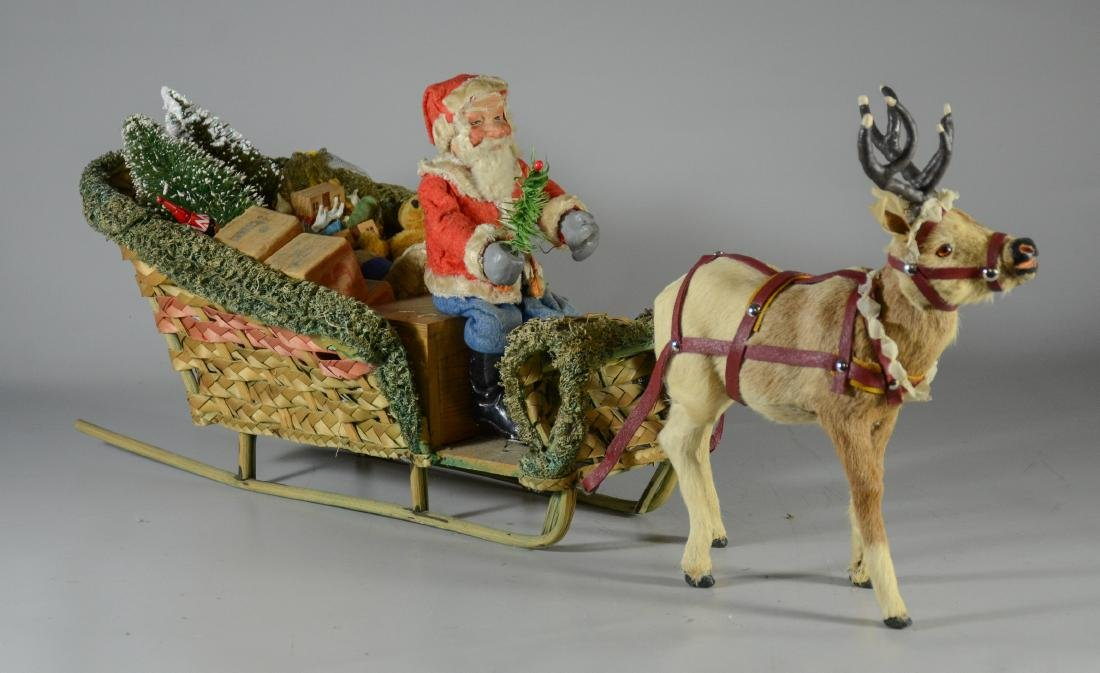 """Santa Claus in sleigh with reindeer - 30"""" long"""