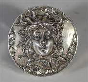 "999 silver art nouveau ladies head paperweight, 2 1/2"""