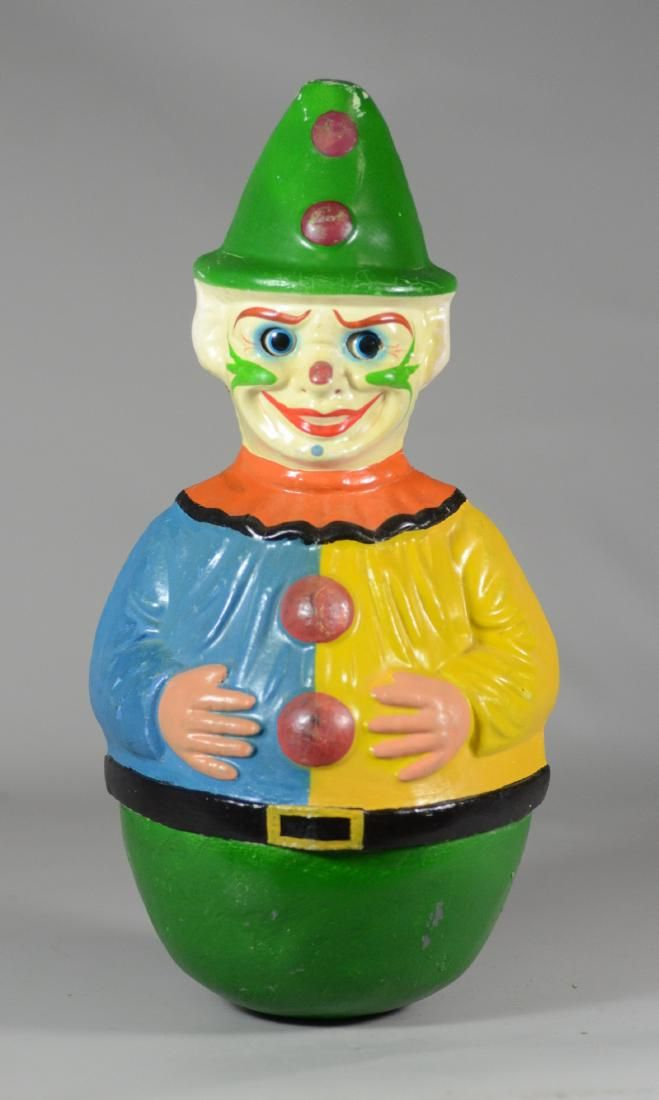 Roly poly paper mache carnival clown with rolling eyes