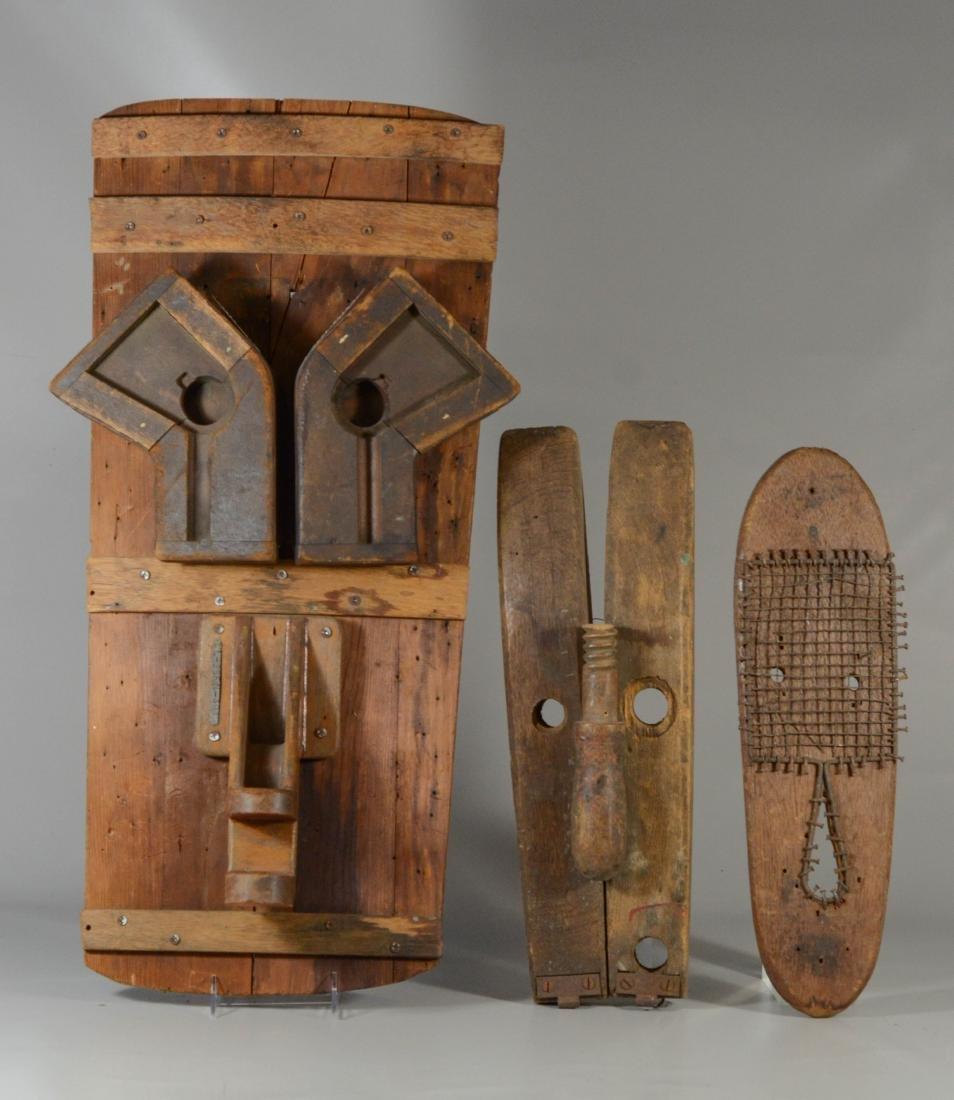 (3) Bob Justin found objects masks, wood & metal,