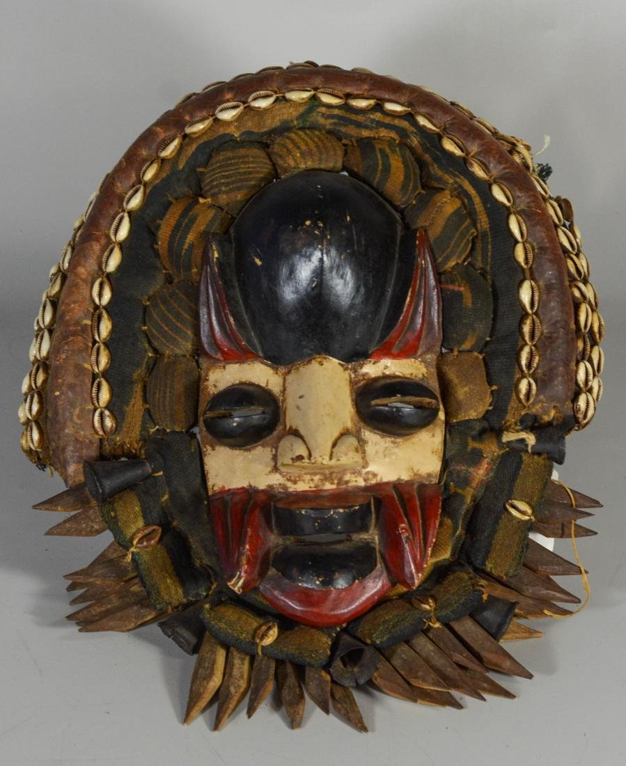 African Congo tribal mask, carved wood, fabric & cowrie