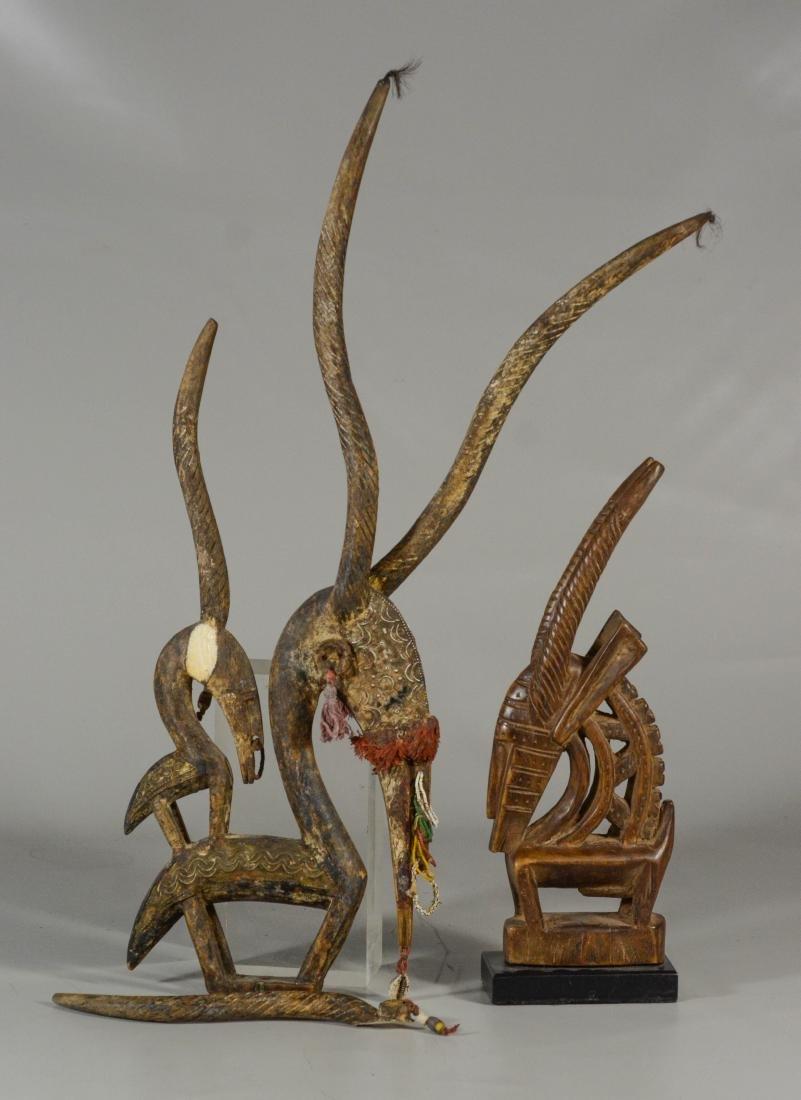 (2) African Mali Chi Wara antelope headdress top,