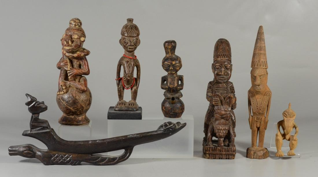 (7) Ethnographic wood figural carvings, including