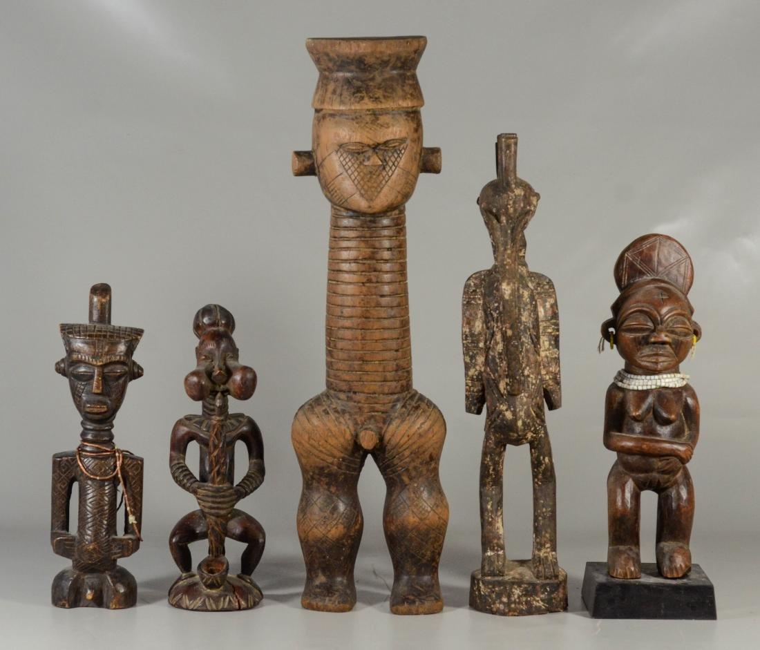 (5) Ethnographic carved wood tribal figures,  tallest