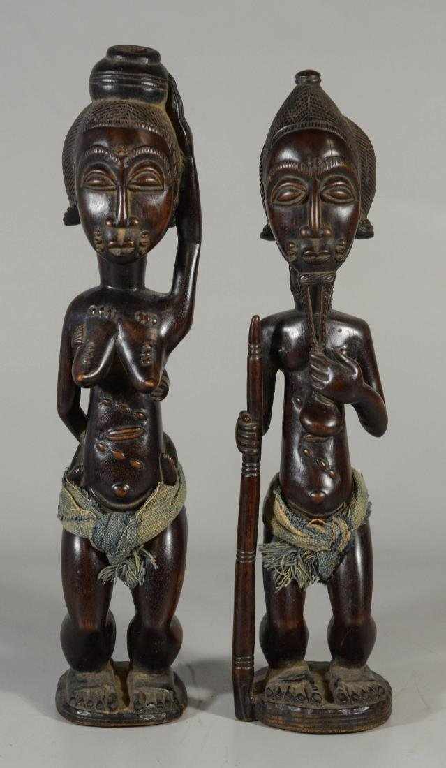 (2) Ethnographic carved wood & cloth tribal figures,