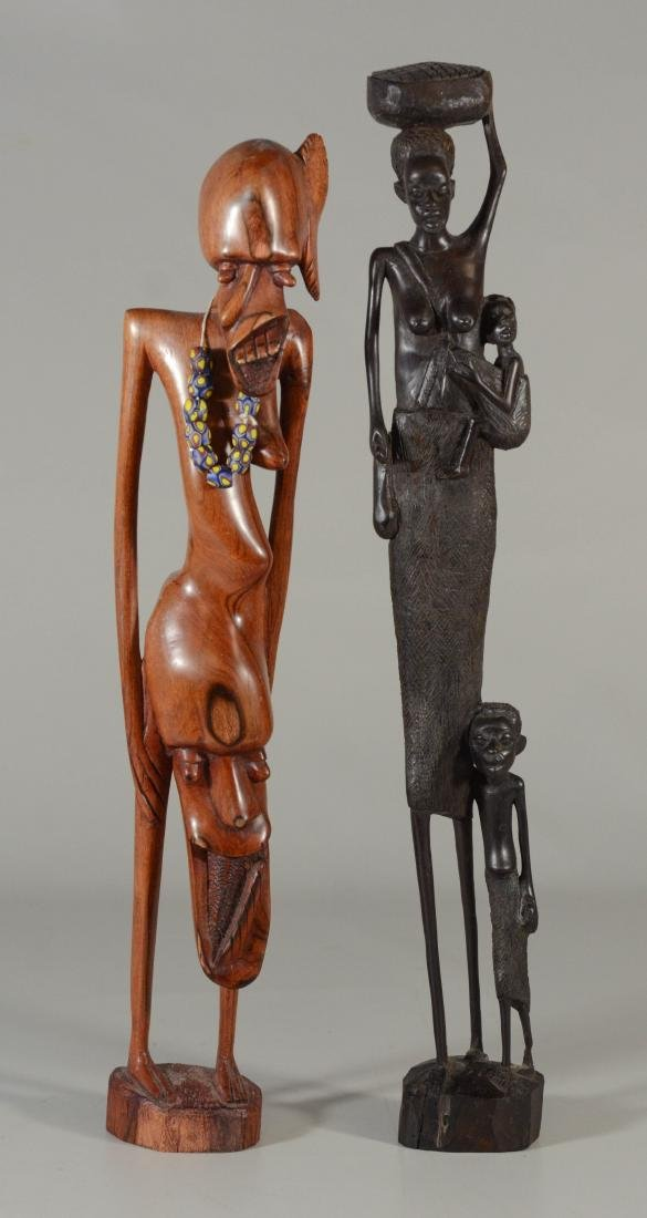 (2) African carved wood female figures, tallest 20""