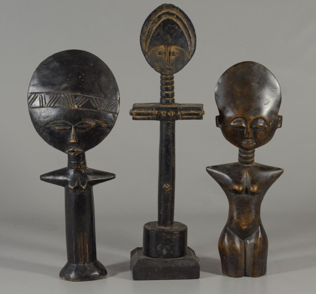 (3) African Ghana female figurines, one with label