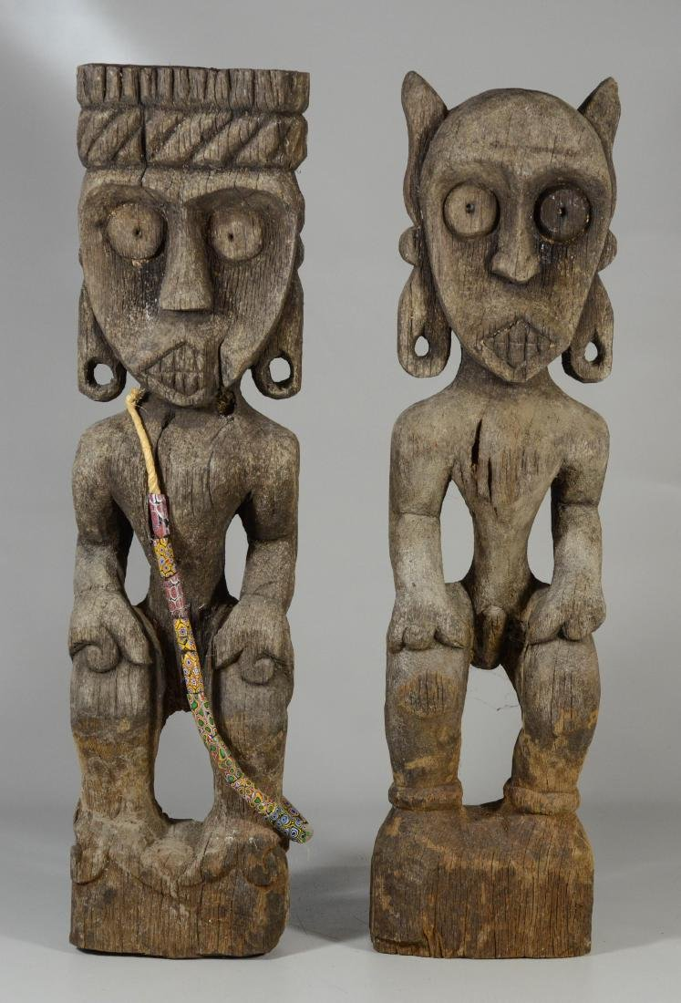 (2) Large ethnographic carved wood figures, one with