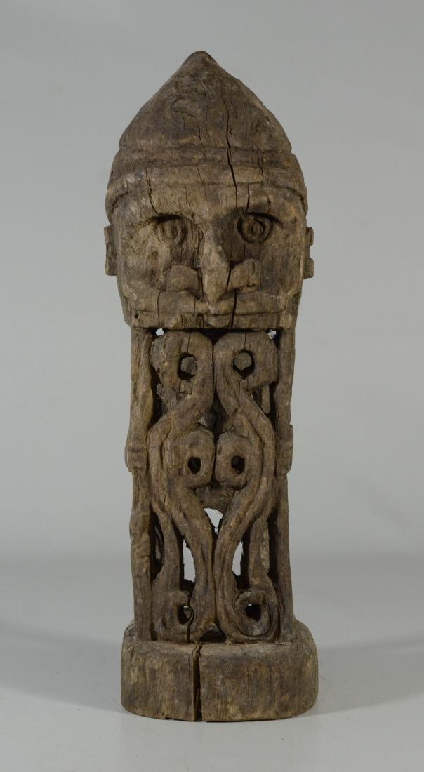 Oceanic art carved wood Korwar figure, face & shield on
