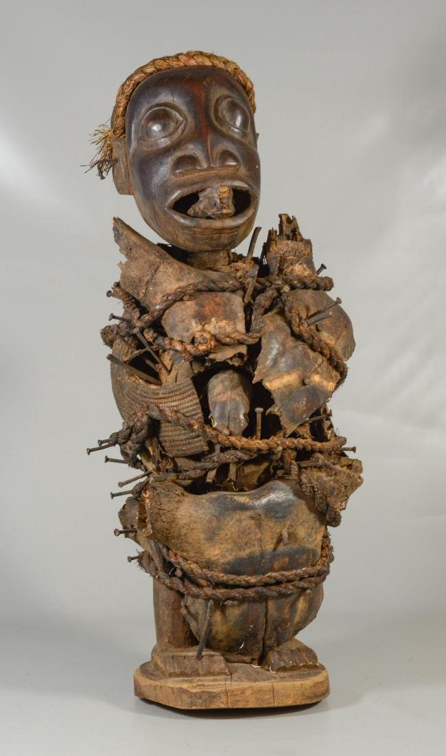 African Congo nail power figure (spirit), carved wood,