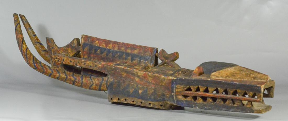 Guinea Baga carved & painted wood alligator Nimba D'mba