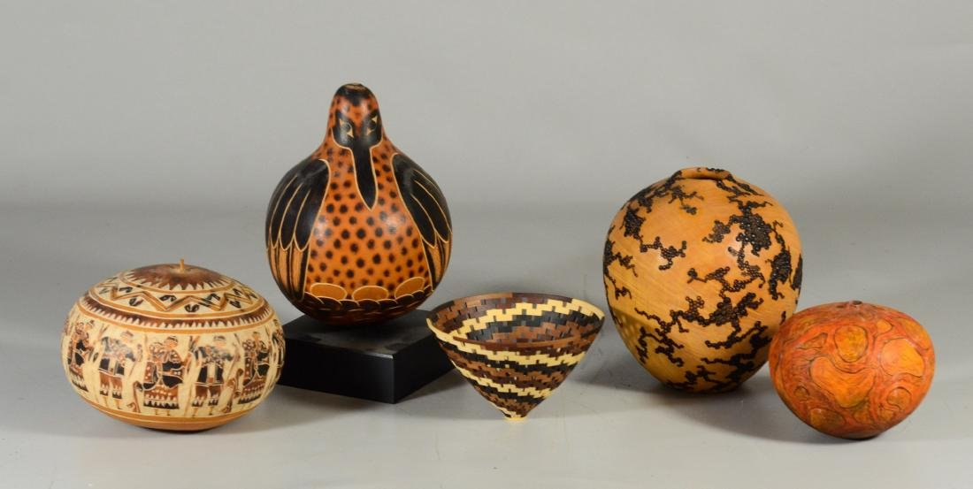 (5) items, two turned wood vessels with burned and