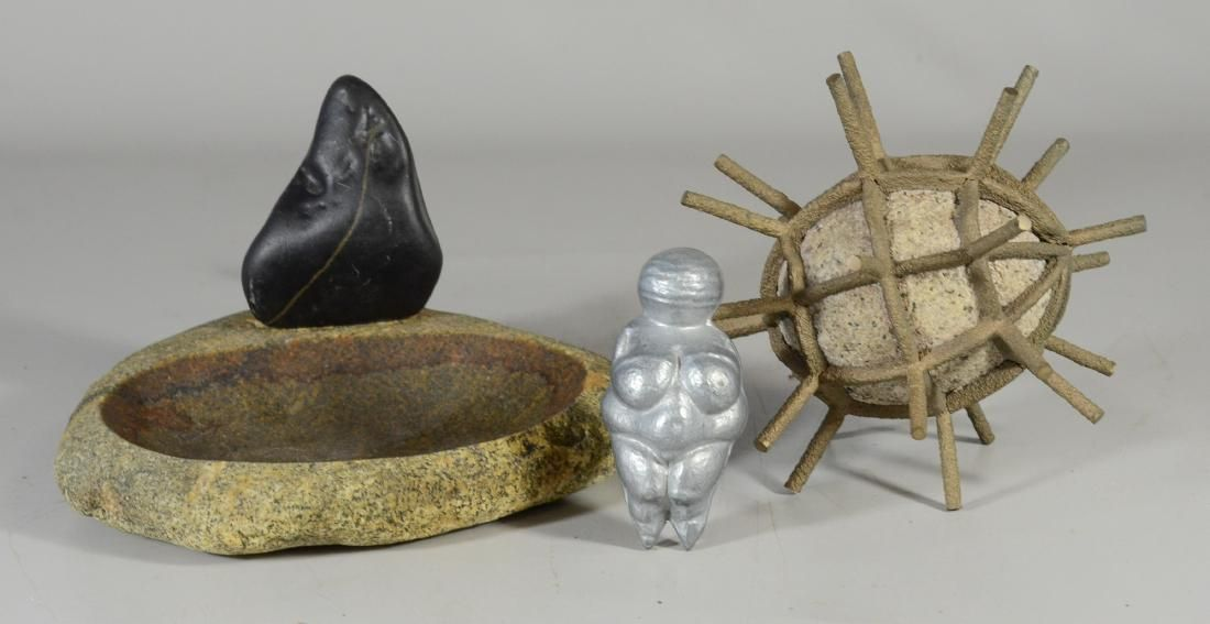 (2) Stone sculptural pieces & A Pewter Casting