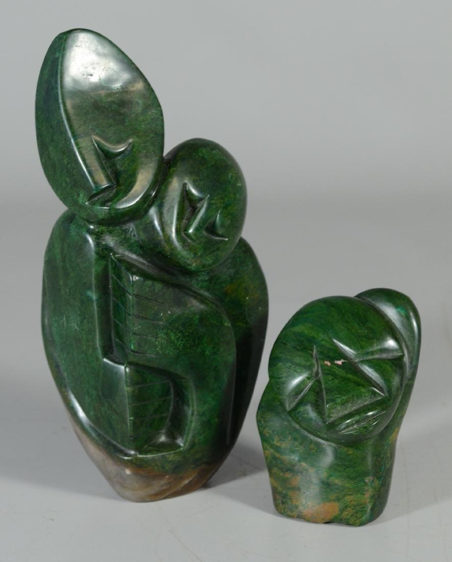 (2) Verdite stone figurative sculptures, one of two