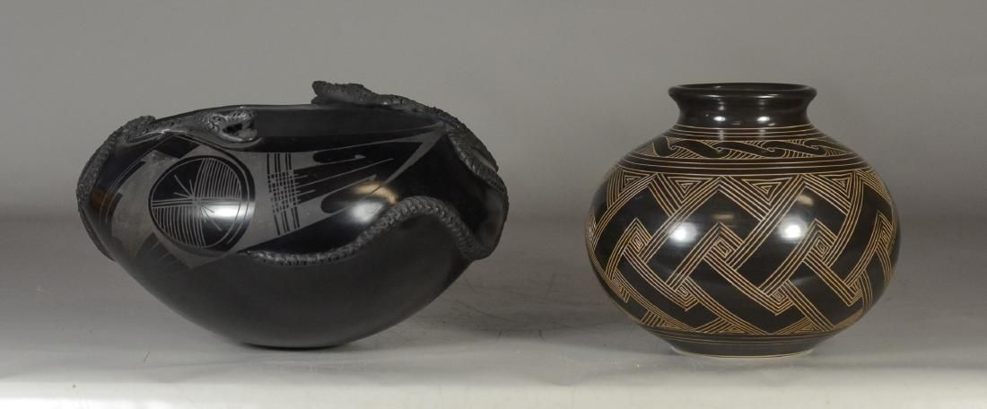 (2) examples of South American art pottery; One Ceramic
