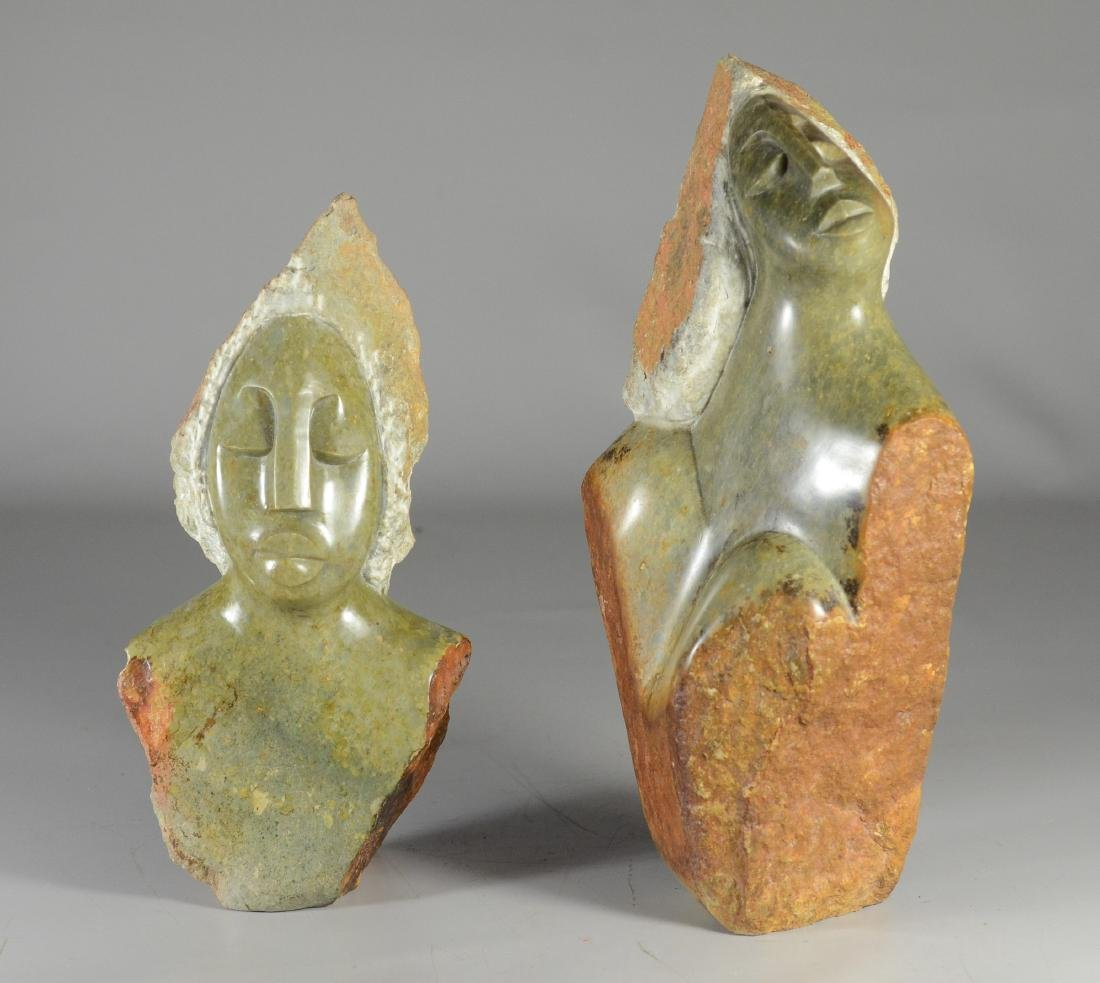 (2) veridite green shona stone portrait bust carvings