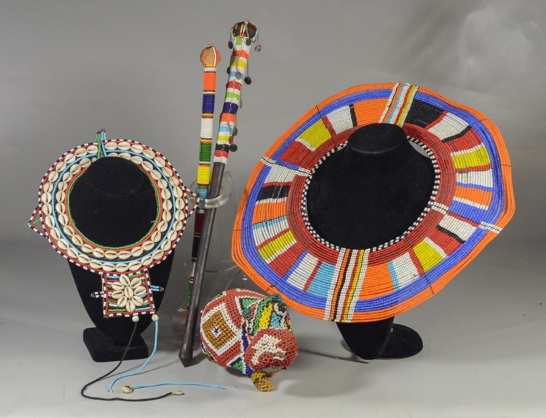 (5) Lot of 4 African Maasai beaded items, two beaded