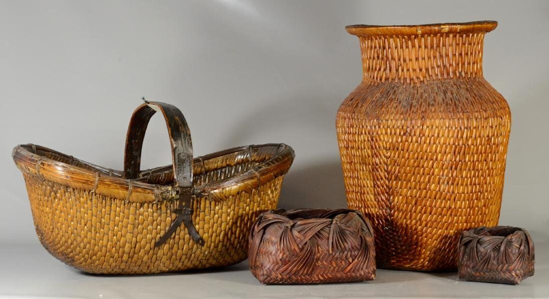 "(4)  vegetal baskets; tallest 21"", one with a handle,"
