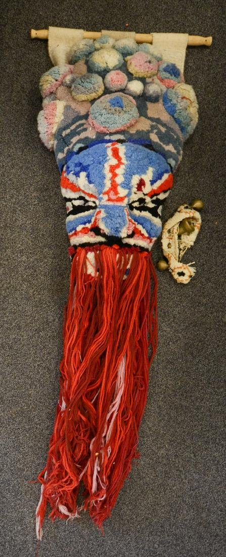 (2) Wool Pom Pom wall hanging of an Asian mask with
