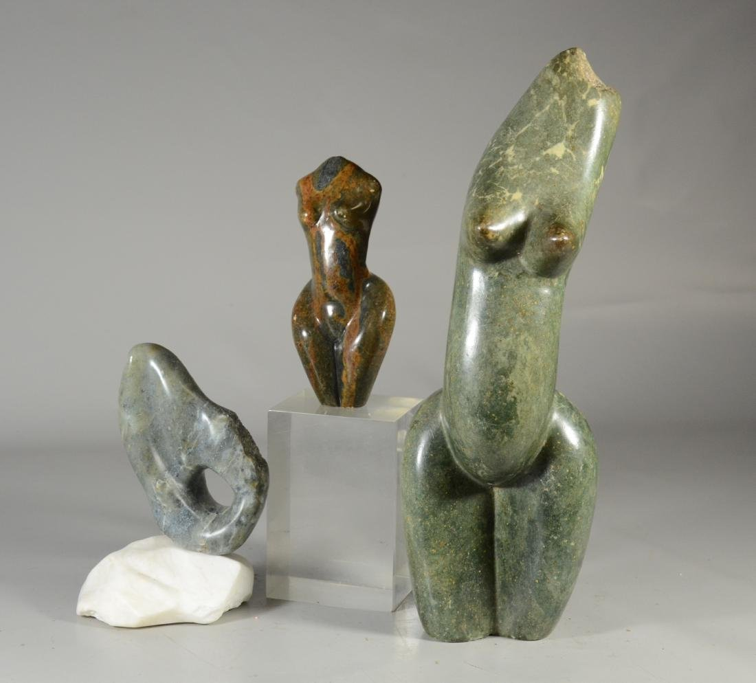 (3) Stone sculptures, 2 nude torsos, and free-form