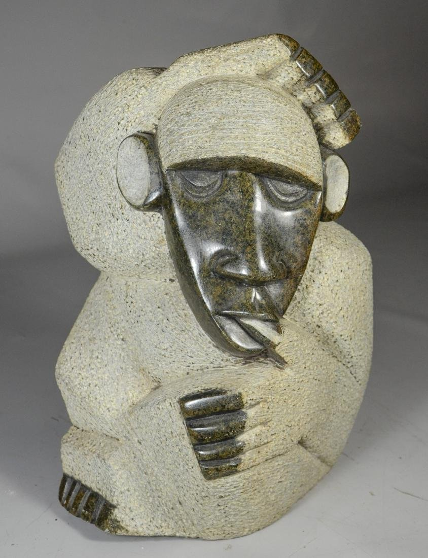 """African stone sculpture, baboon, unsigned, 14"""" h"""