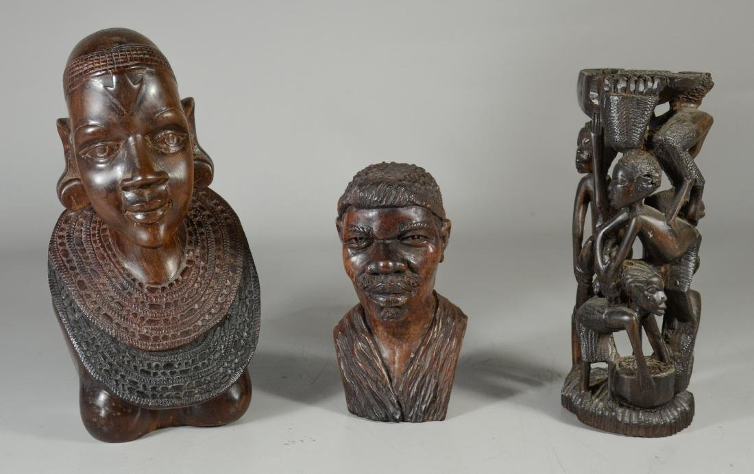 (3) African carved wood sculptures, unsigned, tallest