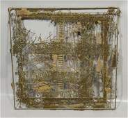 Bowie brutalist abstract welded metal wall sculpture,