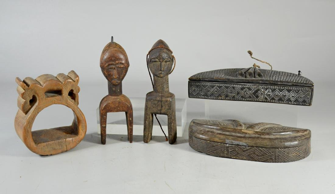 (5) African wood pieces to include 2 Kuba tribe