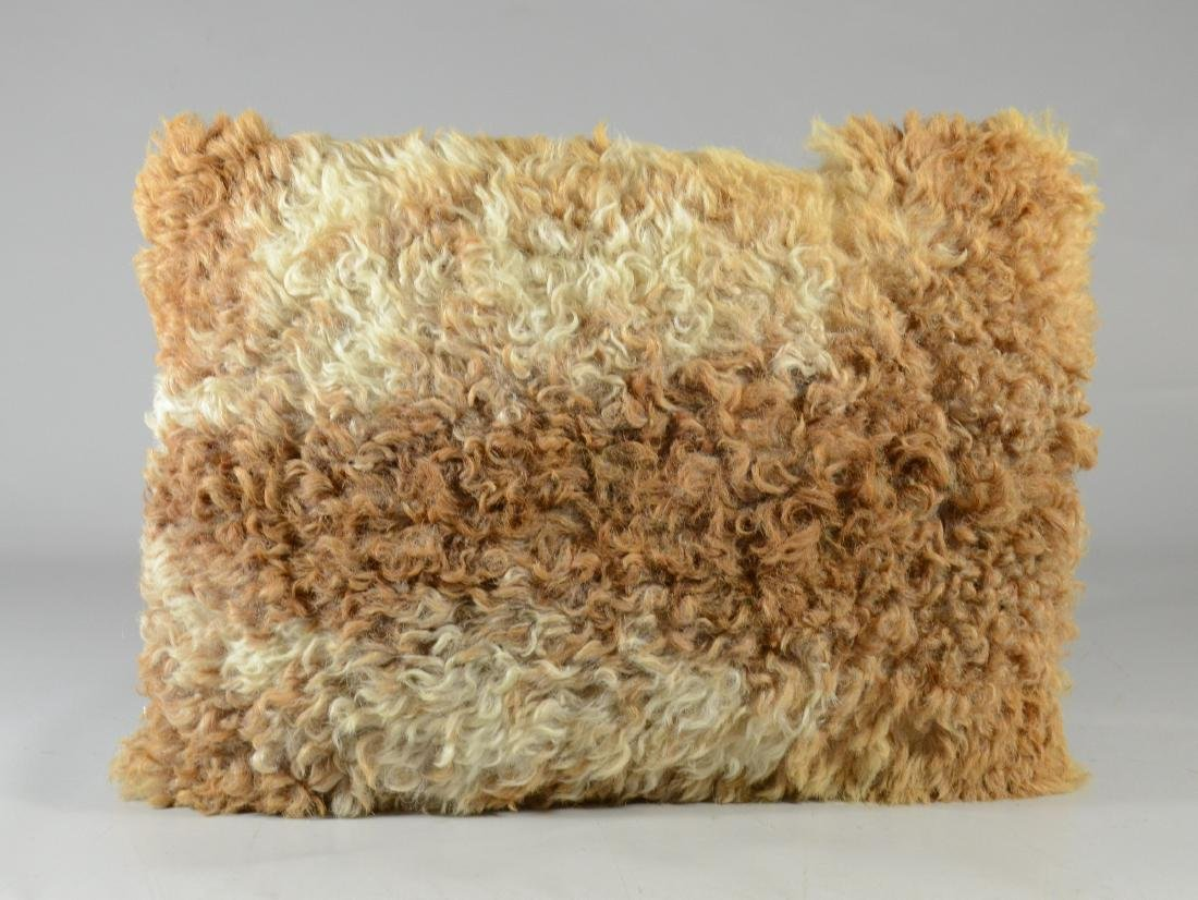 Vintage longhaired, golden curly cowhide pillow with
