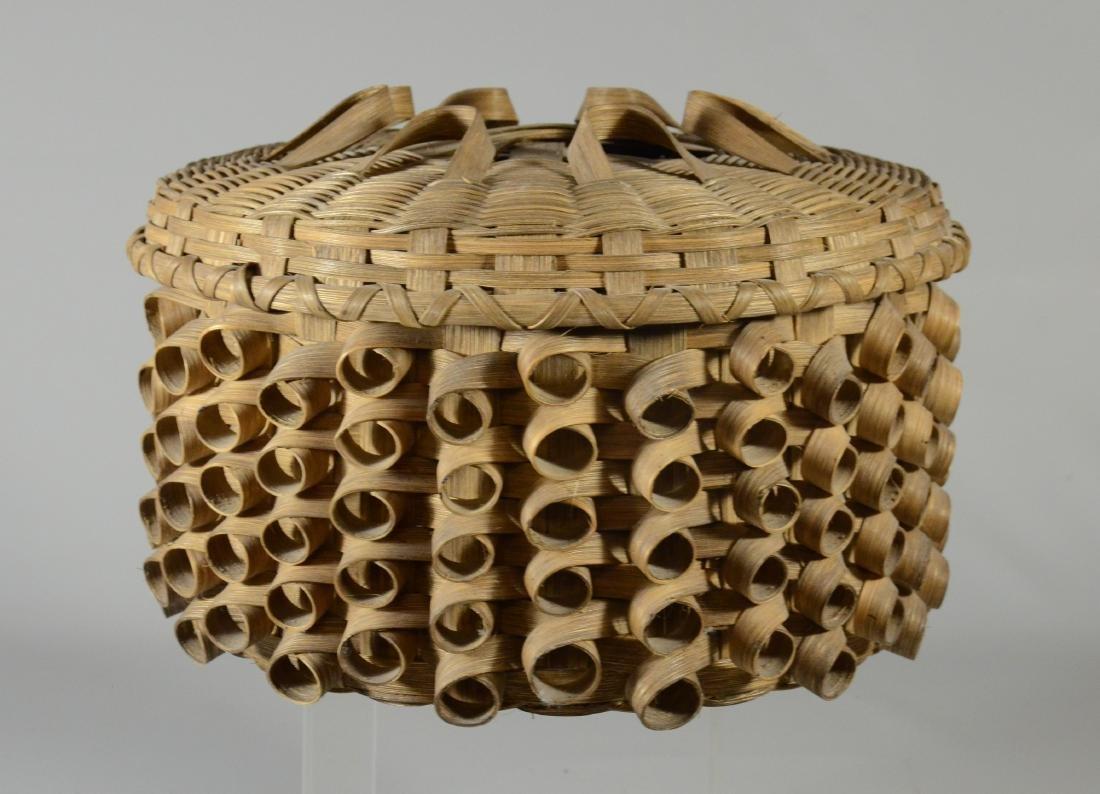 lidded woven splint curly basket, woven by artisan