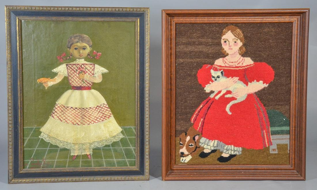 (2) Folk art pictures, one a Mexican painting on canvas