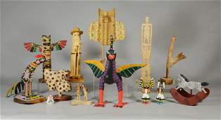 (13) Mostly carved and painted wood figures, rooster