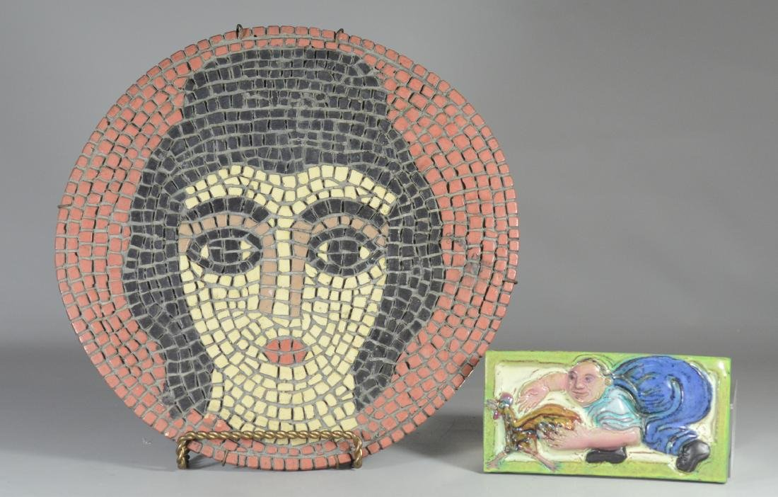 (2) Pieces glazed pottery, mosaic charger & tile
