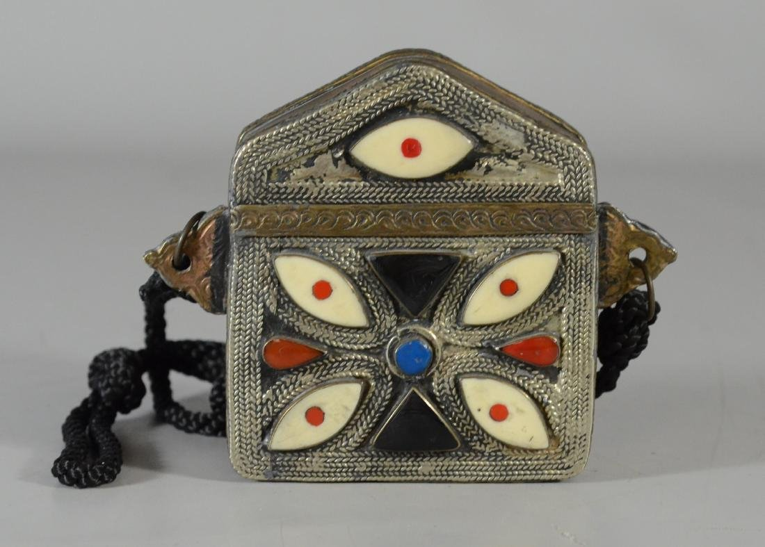 Near Eastern inlaid prayer box, silver & brass tone, 5""