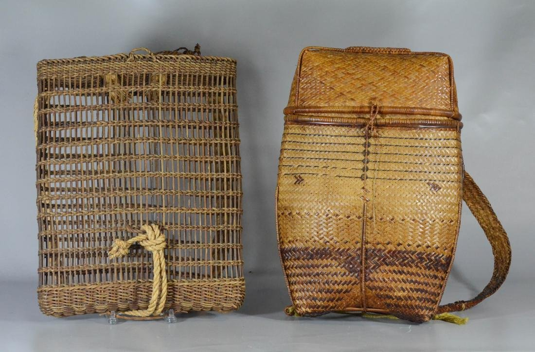 """(2) Backpack baskets, largest 19"""" x 15"""""""