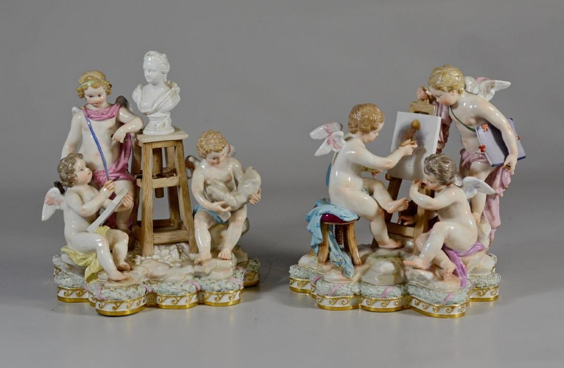 Pair of Meissen allegorical figures of the 'Arts'