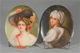 Two German porcelain oval pictorial plaques, c 1900
